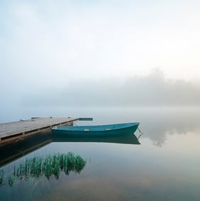 misty morning with pier and boat - Version 2